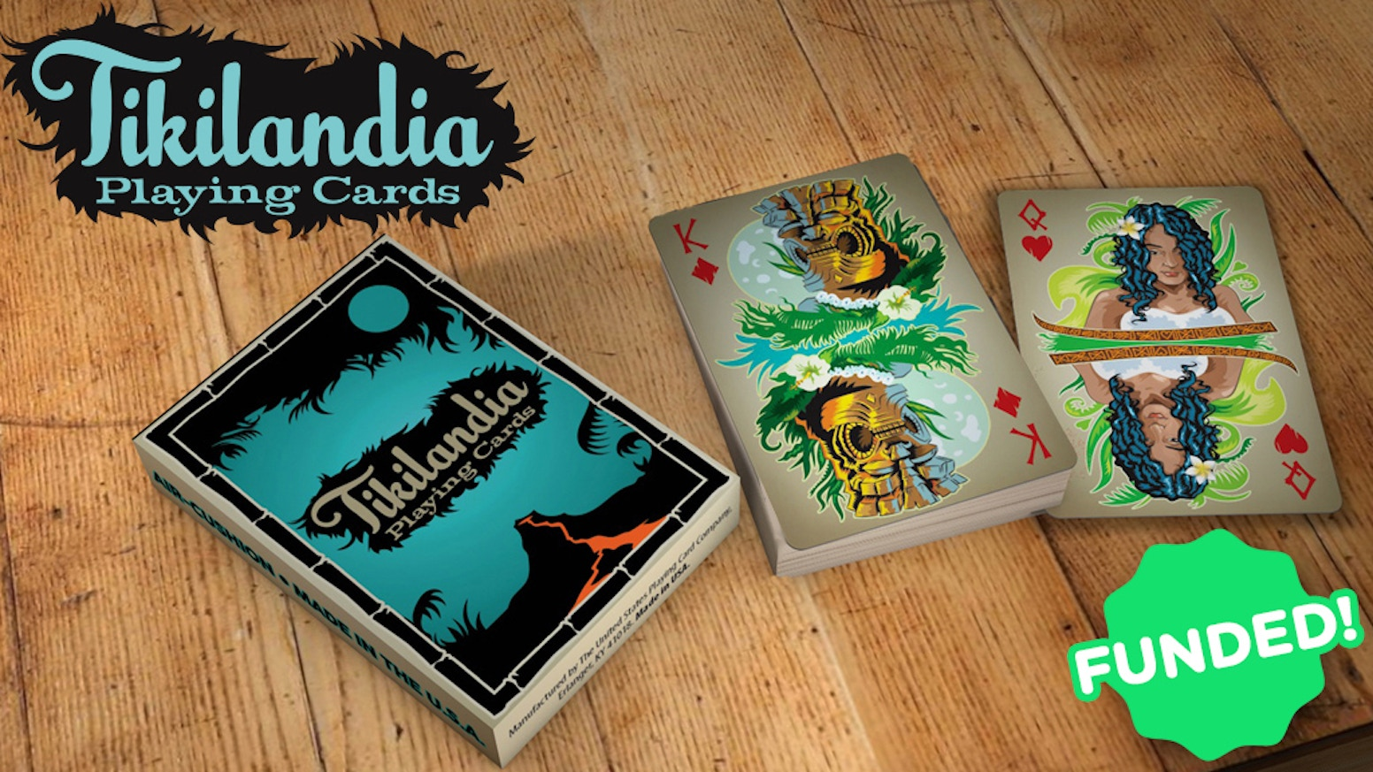 A card deck featuring the Tiki art of Robert Jimenez and made by USPCC in the U.S.A.