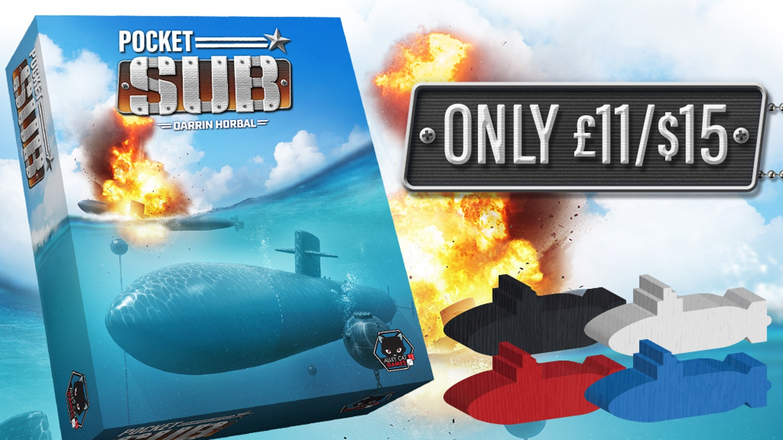 Strategic, quick, and with an awesome submarine theme. Pocket Sub brings a brain burner game, into a small handy sized box!