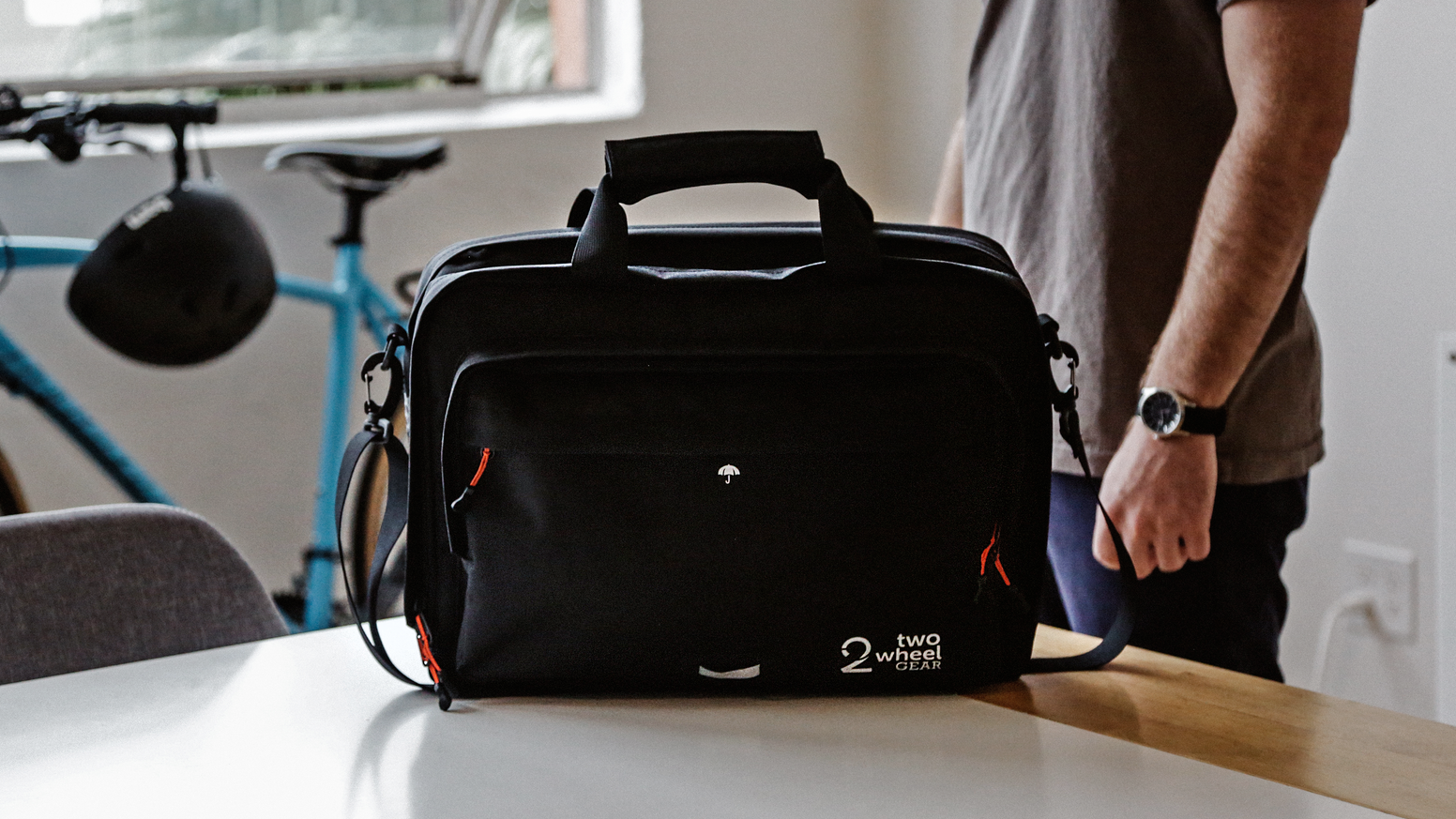 Bike to work or travel as a digital nomad with the world's most organized bike briefcase. Converts from laptop pannier to office bag.
