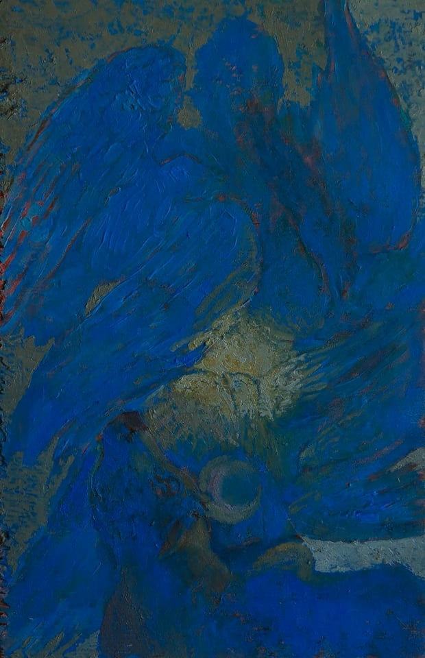 """Zsolt Jozsef Simon: Pelican 16x25 cm (6.3""""x9.8"""") oil on wood"""
