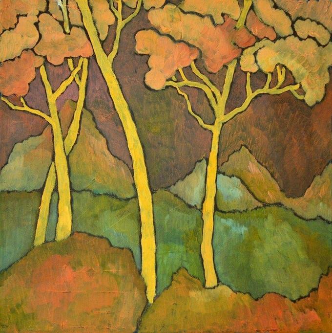 """Rita Müller: Ancient Landscape 30x30 cm (11.8""""x11.8""""), oil on canvas"""