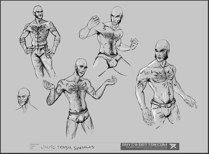 White Trash character design sheet by Rhys Wootton