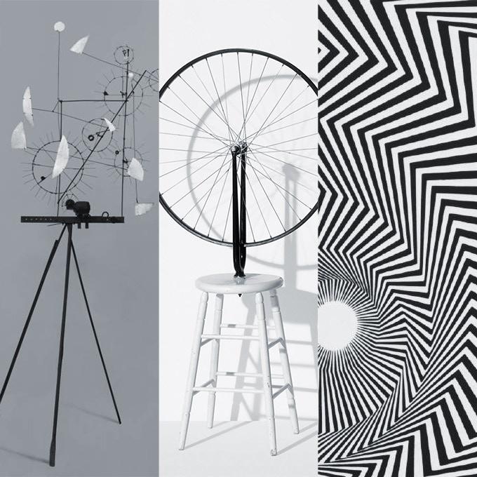 Tinguely (1954), Duchamp (1913), Riley (1964)