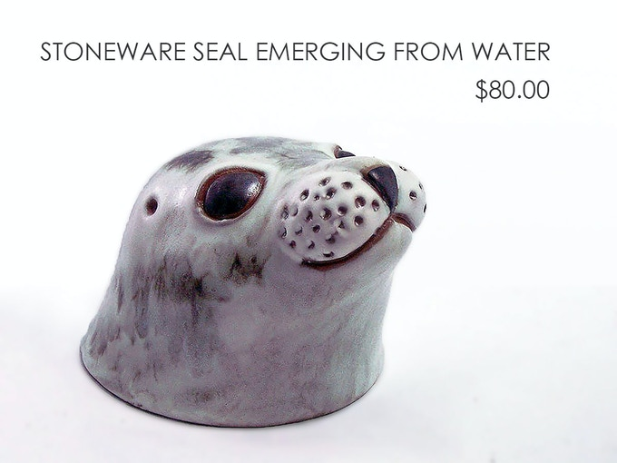 Stoneware Seal Emerging From Water by Andersen Design