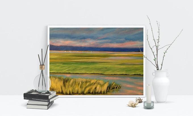 Print of Tidal Marsh Sunset, by Dawn Nagle