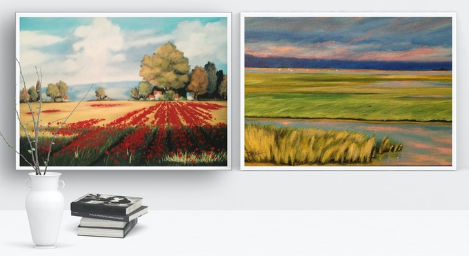 Field of Gold and Red Poppies, Print - and Tidal Marsh Sunset, Print - by Dawn Nagle