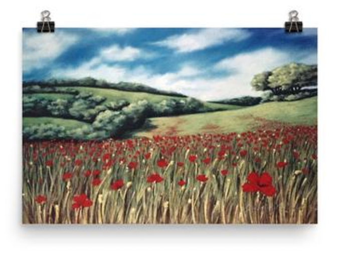 Rolling Hills and Poppies, Italy - Print, by Dawn Nagle