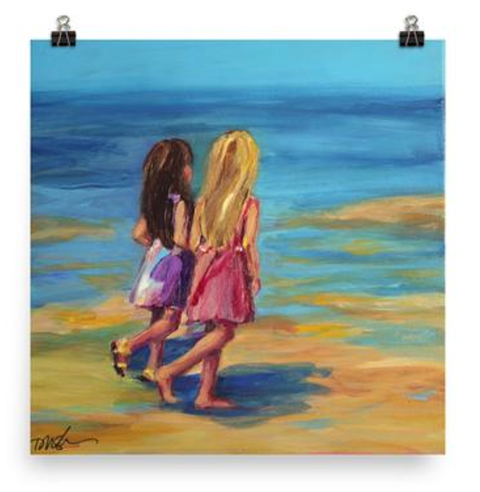 Sisters at the Beach - print, by Dawn Nagle