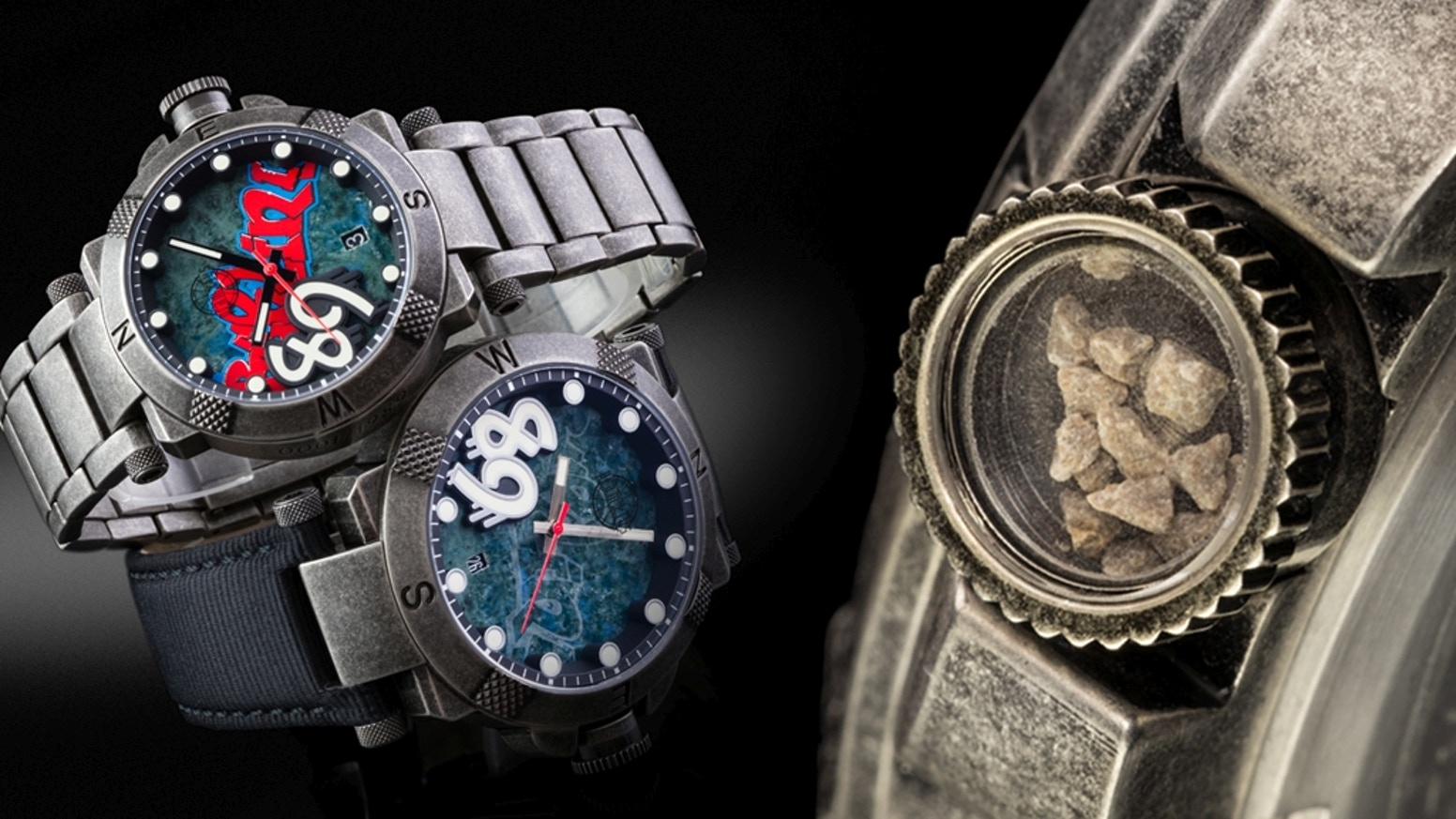 Actual pieces of wall visible in the crown, original graffiti on marble dial, 2 case sizes and dial colors. Automatic mechanical watch.