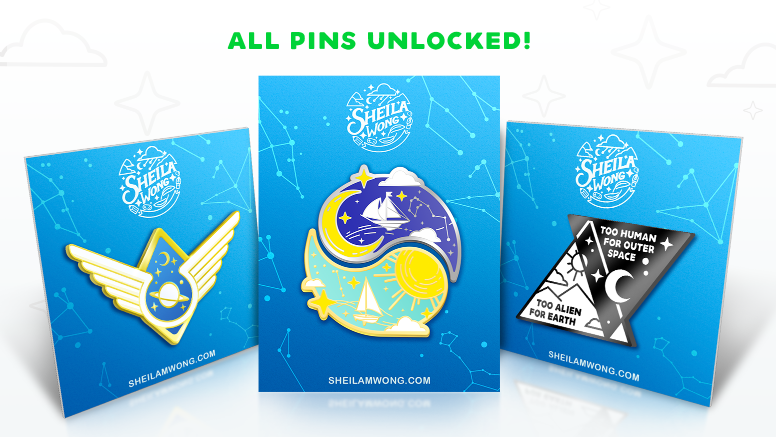 Enamel pins inspired by space exploration and our ties to the cosmos.