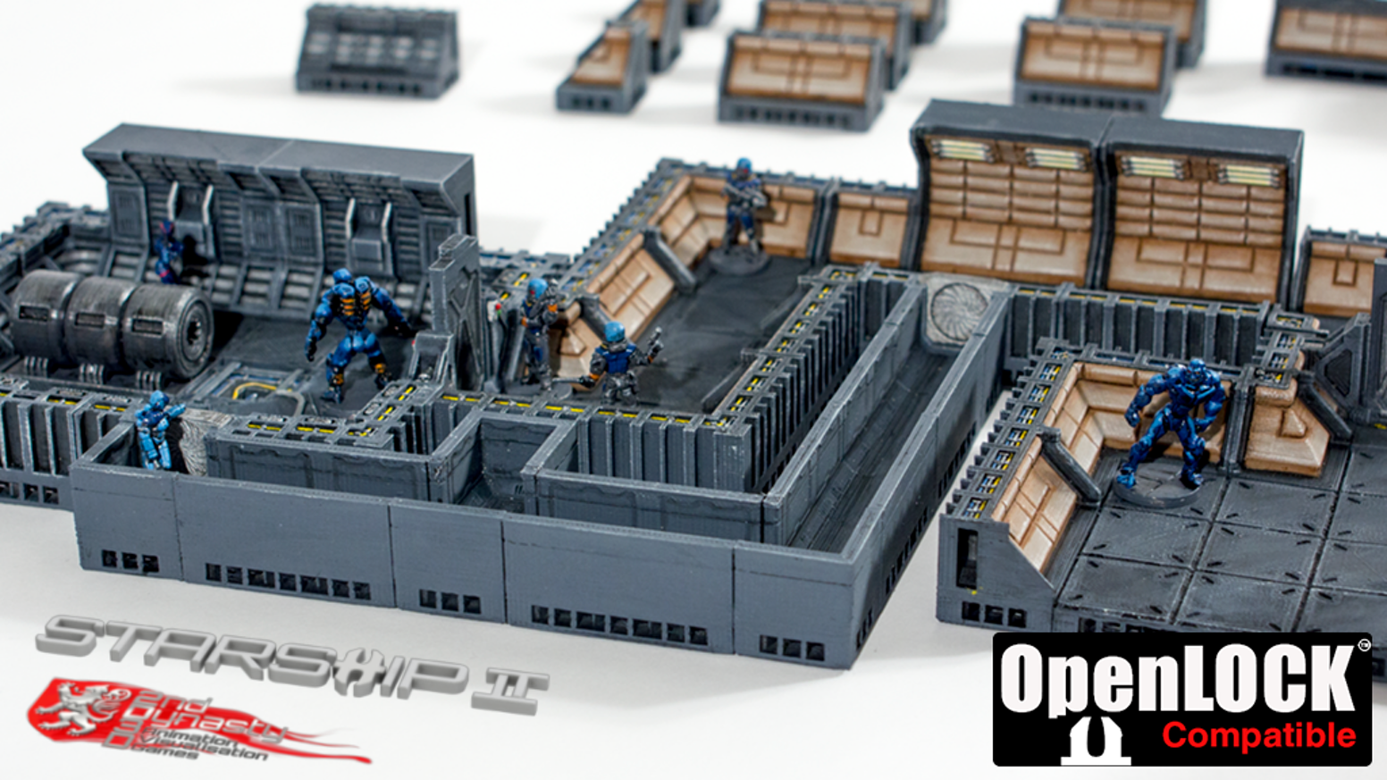 Build your own Starship layout using OpenLOCK-Compatible parts. Ideal for tabletop wargames and RPGs such as Starfinder, etc.