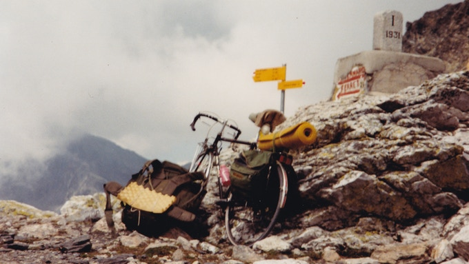 Fred's bike at the Fenêtre de Ferret, on his adventures in the late '80s.