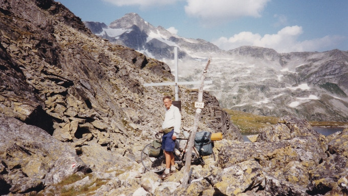 Fred Wright at the top of the Arlscharte Pass, Austria, in 1992