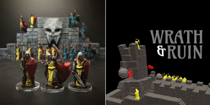 The support-free 3d printable soldiers (left) and a render of the version of the game we'll make available for Tabletop Simulator (right).
