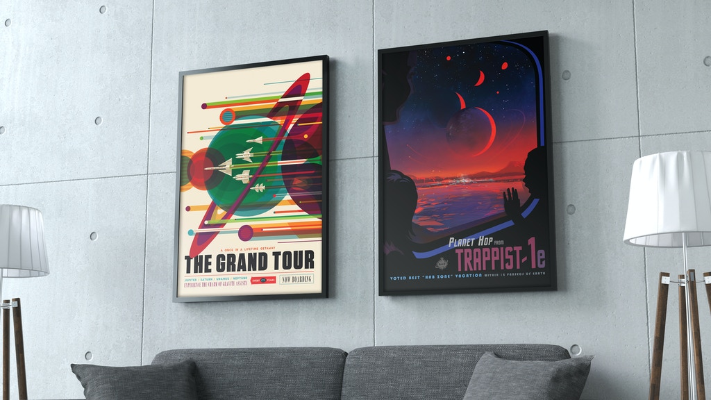 nasa exoplanet travel bureau posters fullsize reprints by tim hippmann kickstarter. Black Bedroom Furniture Sets. Home Design Ideas
