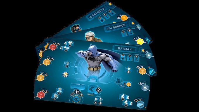 Batman, Jim Gordon, and Nightwing's hero screens