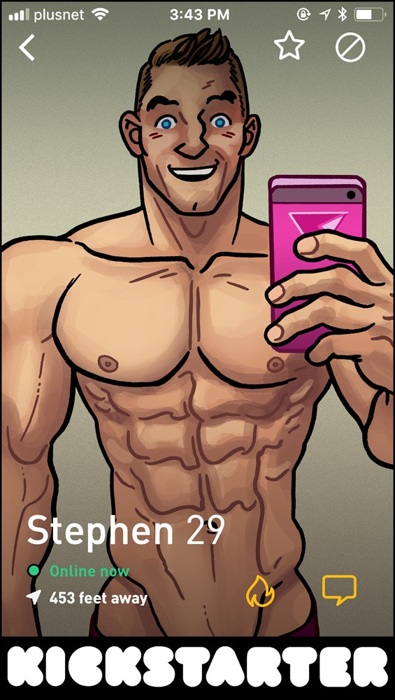 FabMan hitting the dating apps, thanks to Jon Cairns!