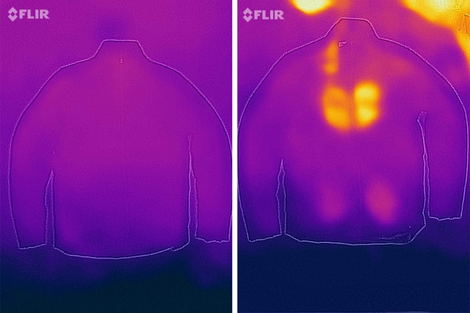 Testing the thermal capacity of the garment in various states via thermal imaging.