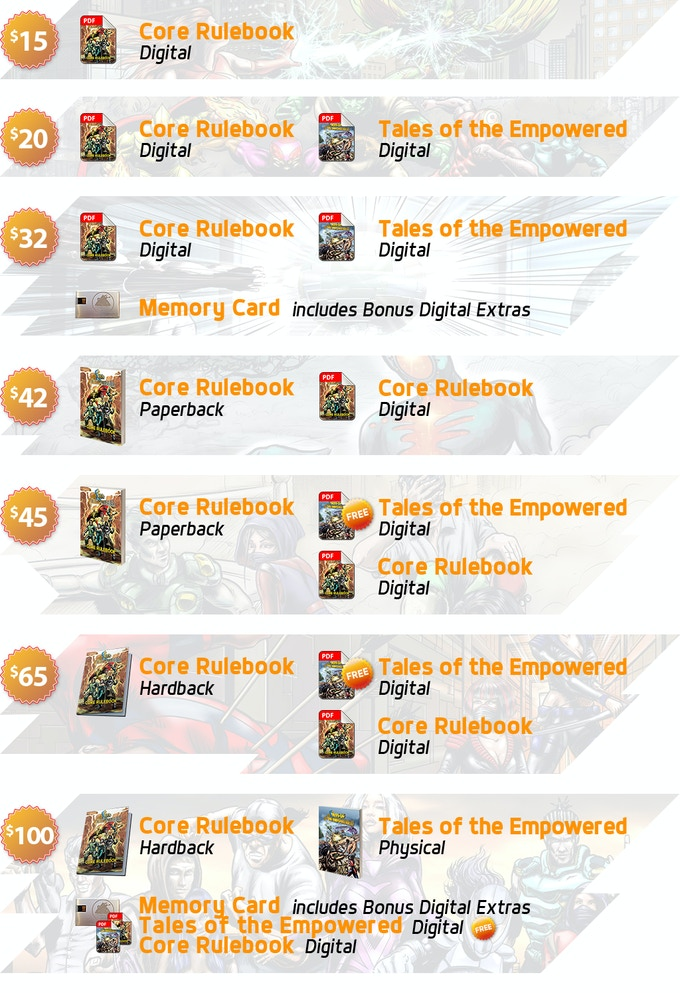 We have a variety of reward tiers, ranging from the basics for playing the game all the way to extras such as Tales of the Empowered and the comics!