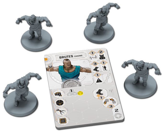 A Brutes Chains tile with the 4 miniatures it controls