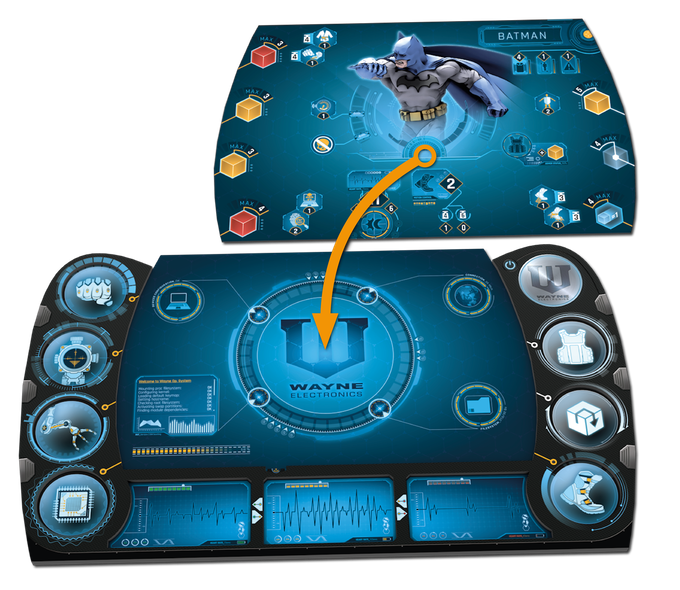 A hero screen and a bat-tablet forming a hero board