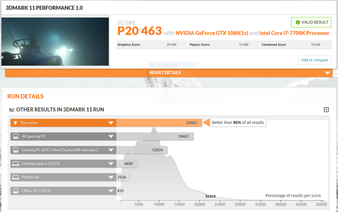 3DMark 11 on Inferno. score: 20463