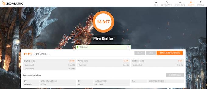 Fire Strike V1.1 on Inferno. Score: 16847