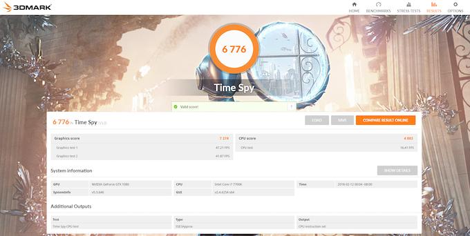 Time Spy v1.0 on Inferno. Score: 6776