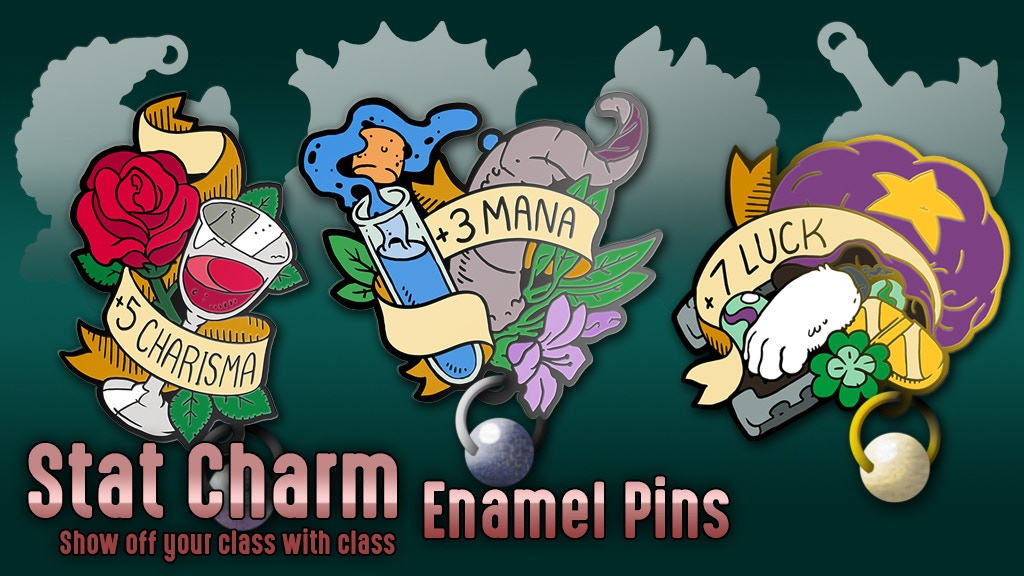 Stat Pins: show off your RPG class with wearable enamel pins for stat bonuses.