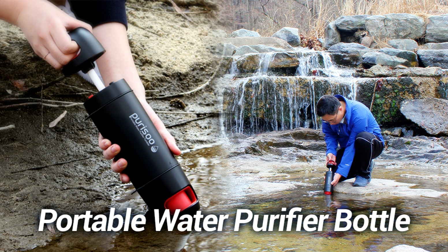 Purify water anytime, anywhere. No contaminated water put in water bottle anymore. Manual Pump Technology. Use Purifier & Water Bottle.