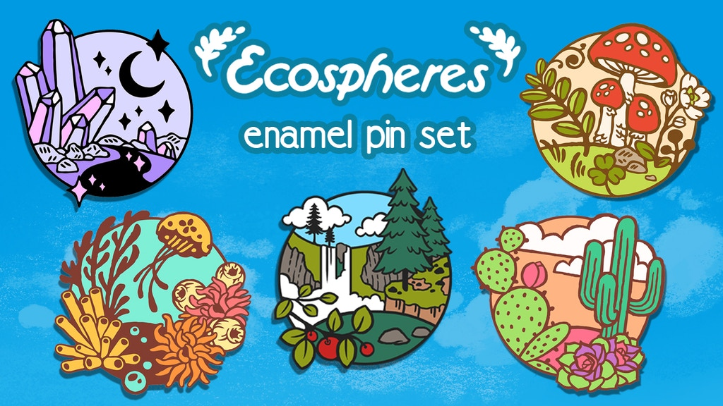 """1.25"""" Hard enamel pins with a whimsical nature theme."""