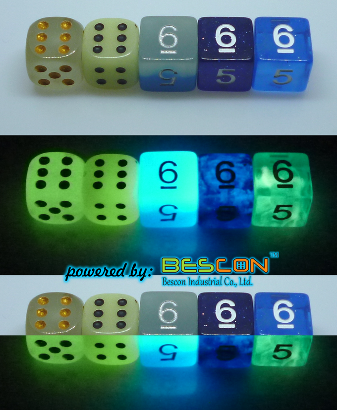 """""""normal green"""" luminous d6 and our dice"""