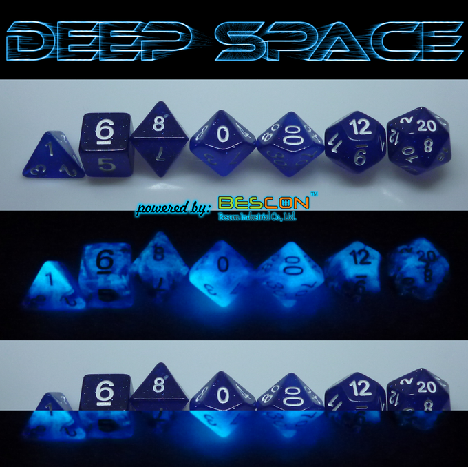 DEEP SPACE polyhedral dice set day/ night