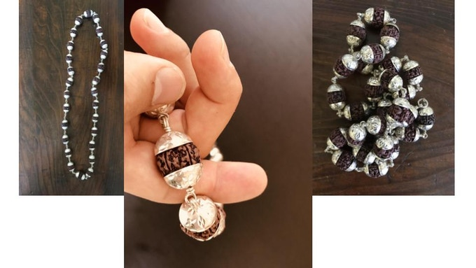 27 bead mala made with rudraksha beads and sterling silver from Varanasi, India