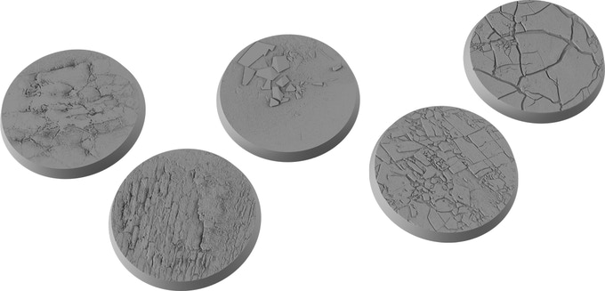 A 3D render of the five 30mm bases