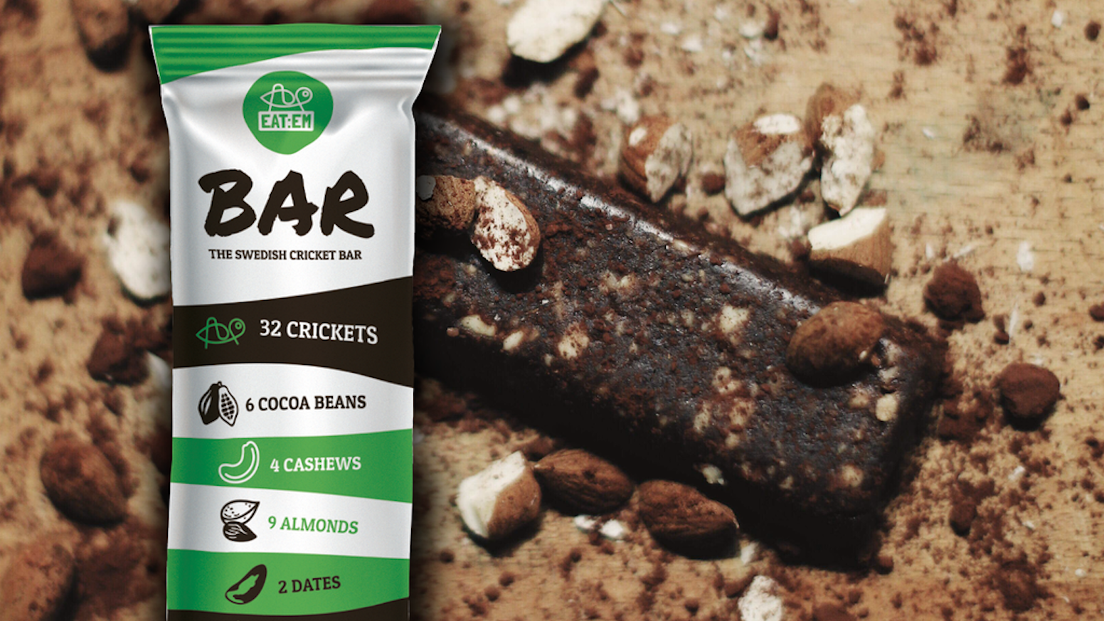 A bar made of 32 crickets, 6 cocoa beans, 4 cashews, 9 almonds, 2 dates and coconut oil. Simple, tasty & healthy!