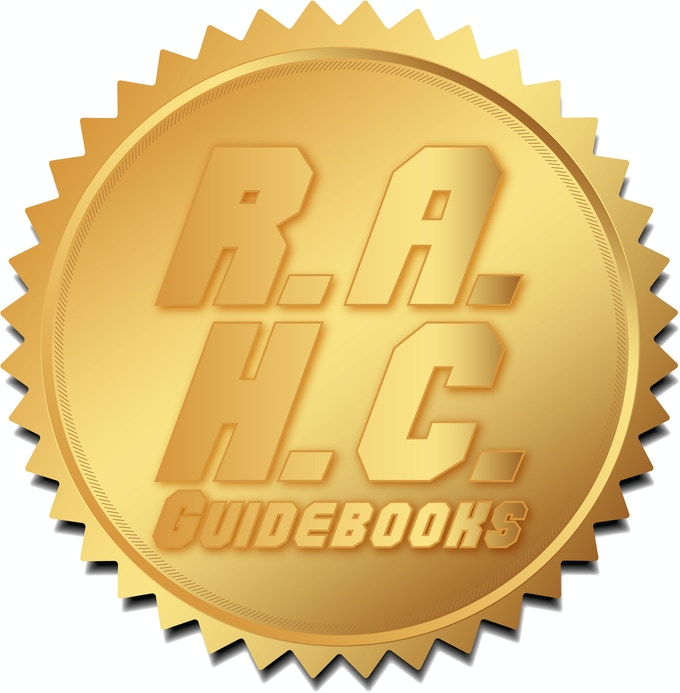 R.A.H.C. Guidebooks Seal of Approval (final Seal is a gold foil stamp with a custom imprint).
