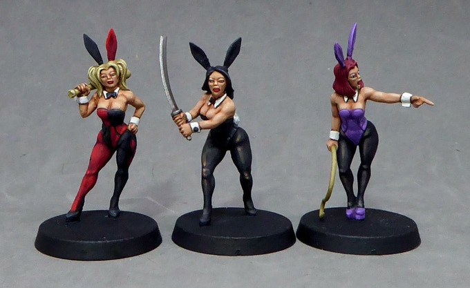 3.  Bunny girls armed and dangerous with katana, bat and whip!