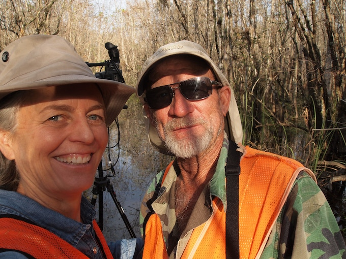 Barbara and Wayne, just after the interview, in the Big Cypress Preserve swamp, Florida.