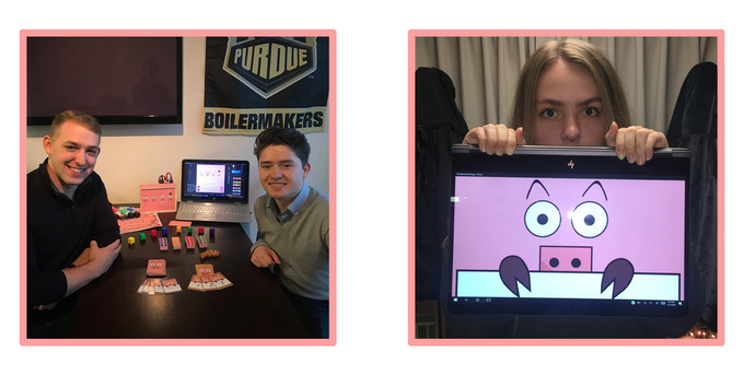 Tyler Damm and Thibault Corens (Left) - Kaley Price, the artist behind Cube Hog (Right)