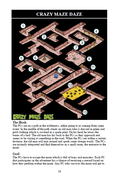 A map from the adventure Crazy Maze Daze.