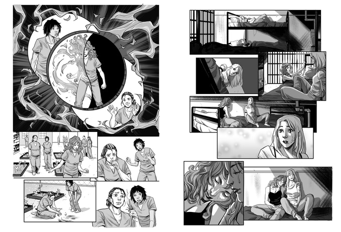 A sneak peek at the interior art of PRISON WITCH!