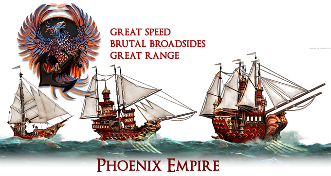 The Phoenix Empire's navy wields swift, advanced sailing ships armed to the teeth with powerful cannons. Each ship is armed with a large number of the most modern cannons available, giving them unmatched range and broadside firepower.