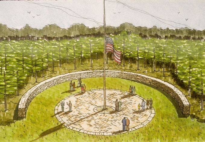 Rendering of the Abraham Lincoln National Cemetery, Elwood, IL, designed by Joe Karr