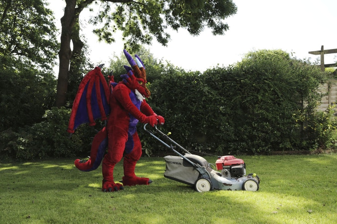 Saethwr, a red dragon in his garden, Cardiff (Limited edition print)