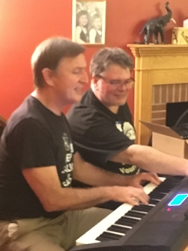 Carl Franklin and Eric Westman jamming at the VIP party