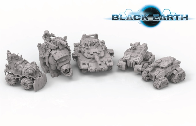 Available vehicles and vehicle-sized models so far. From left to right, Brute Monste Truck, Brute Gorusk, UEF Bulldog, Tecton Minotaur APC, Tecton Minotaur IFV.
