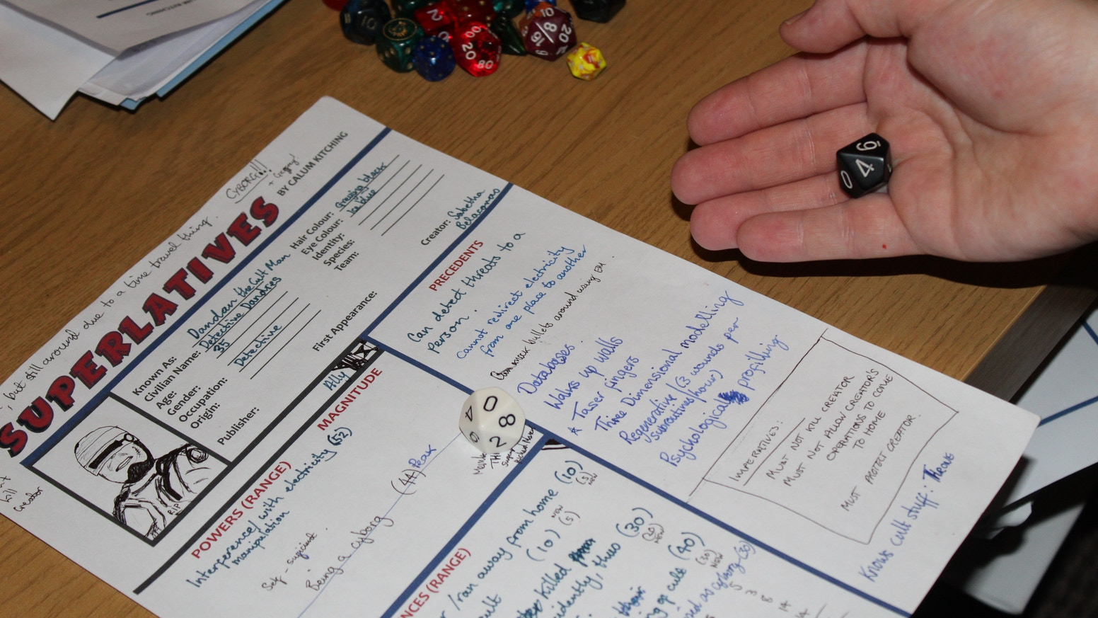 Superlatives! A tabletop roleplaying game of superhuman action and capabilities. Now found on Drive Thru RPG: https://www.drivethrurpg.com/browse.php?author=Calum%20Kitching& Wordpress: https://superlatives30882206.wordpress.com/