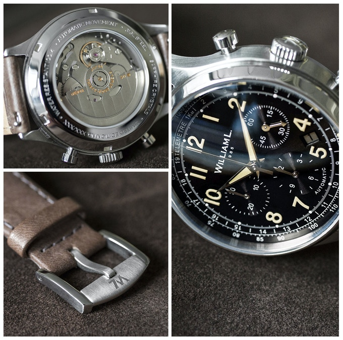 Automatic Chronograph 'Pilot' with Patinated Dark Beige Calfskin Strap