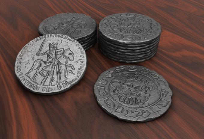 3D render of the coins